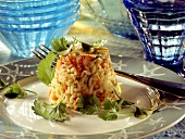 Peanut & rice timbale with crabmeat & diced vegetables