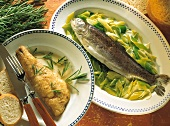Fried pike-perch with rosemary sauce & trout with leeks