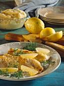 Red perch fillet with lemon & dill sauce & lemon segments