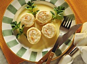 Sole rolls with shrimp stuffing in port wine butter