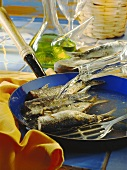 Stuffed sardines in the pan with wine