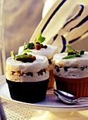 Souffle with apples, raisins and mint in souffle dish