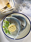 Trout cooked blue with minted butter & egg sauce & mint sprigs