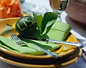 Table setting with lime place card & lime-green napkin