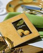 Menu with lemon motif