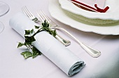 Rolled fabric napkin with ivy, two forks, plate