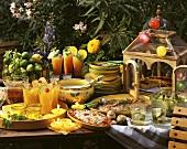 Sommer-Gartenbuffet mit Cocktails,Suppe,Braten,Salaten & Pie