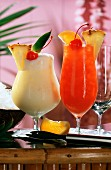 Fruit drinks: Pina colada and Planters punch