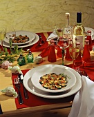 Table laid for Italian meal with appetiser