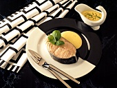 Salmon cutlet with lime whip and basil strips