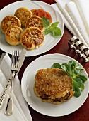 Stuffed potato cakes and beef in potato crust