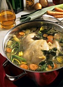 Simmering Chicken for Broth