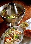 Chinese fondue with ginger dip and sweet & sour sauce