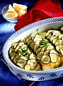 Fish fillet, Moroccan style, with courgettes & oranges