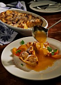 Wiener Kipfelkoch (bread & butter pudding) with apricot sauce