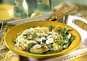 Risotto with artichokes, mangetouts, onions & parmesan
