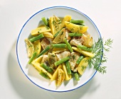 Pan-cooked fish & potato dish with green beans, shallots & dill
