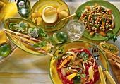 Chick pea salad, ratatouille, Roquefort mousse & ice cream