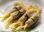 Veal rolls stuffed with spaghetti