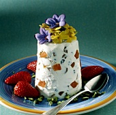 Russian Easter quark dessert (Pasha) with flowers