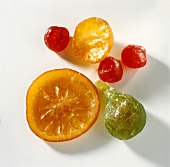 Various candied fruits (fig, orange, cherries)