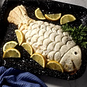 Fish in salt crust with lemon wedges on baking tray