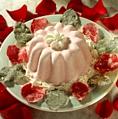 Romantic rose jelly with sugared rose petals