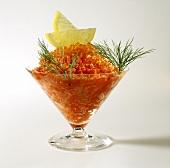 Tomato sorbet with trout caviare, lemon slices & dill