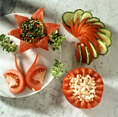 Novelty tomato garnishes (flower, fan, butterfly, basket)