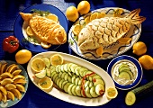 Fish in puff pastry, with cucumber scales & in salt crust