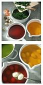 Making coloured quail's eggs (colouring)