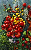 Still life with tomatoes (beefsteak, cherry & yellow)