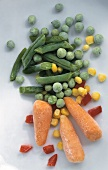 Frozen peas, carrots, sweetcorn, green beans, peppers; 2