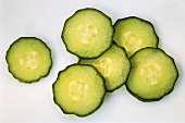 Individual slices of cucumber