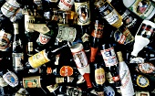 Many beer bottles from various countries