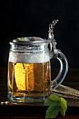 Light beer in Bavarian beer mug