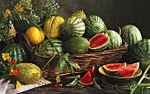 Melons in a Wicker Basket