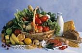Mixed Still Life; Fruit Vegetables; Meat Grains; Bread