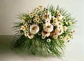 Vegetable bouquet of garlic, chives and daisies