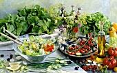 Salad dish & oil, vegetables, herbs, mushrooms, lemon