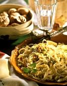 Ribbon pasta with walnut sauce and marjoram
