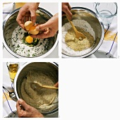 Making herb noodles (spaetzle) (mixing the dough)