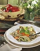 Ravioli with mozzarella, herbs, pepper sauce & pine nuts