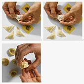 Making tortellini with meat filling