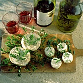 Assorted Soft Cheeses with Red Wine