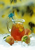 Pitcher of Peach Tea on Ice