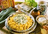 Gnocchi with gorgonzola and celery sauce