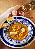 Zuppa di mare (Fish and prawn soup with onions and tomatoes)