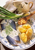 Herring with cream sauce & boiled potatoes with bacon & onions