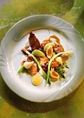 Crayfish with quail's egg, apple, spring onions & radish